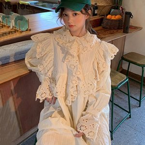 Korean Chic Hollow Out Design Long Dress O Neck Flare Long Sleeve White Vestido High Waist Hip Loose Ropa Elegant 48558