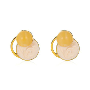 European Retro Amber Stud Earrings 925 Silver Round Contrast Earring Stick For Women Beige Alloy Ear Jewelry Fashion Accessories