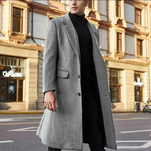 Men's jacket 20SS new European and American British men's luxury fashion mid-length mid-length wool warm double-layer Christmas jacket
