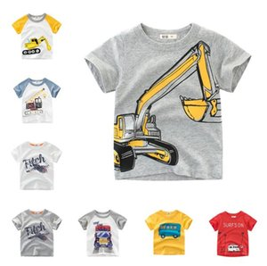 Summer Kids Boys Short Sleeve T-shirts Tops Clothes 2-8Y Baby Boy Excavator Print Tees Children Clothing Kid Cotton Outfit