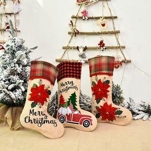 Creative Santa Claus Christmas Socks Cartoon Cute Candy Gift Bags Personality Christmas Tree Pendant Festive Party Supplies HHE2802