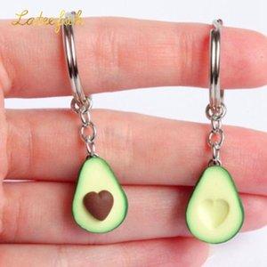 3D stampato morbido ceramica avocado portachiavi a forma di cuore portachiavi coppia auto accessori interni frutta portachiavi ad anello regalo