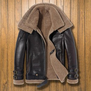 2020 Double-collar Thicken Warm 100% Real Shearling Jackets Men Leather Genuine Coat Winter Natural Sheepskin Outerwear