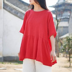 Casual Style Cotton Linen Women t shirt 2020 Summer New half sleeves Solid Color Women Vintage t shirt Drop Shipping