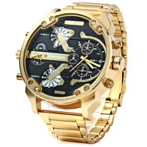 Big Watch Men Luxury Golden Steel Watchband Men's Quartz Watches Dual Time Zone Military Relogio Masculino Casual Clock Man XFCS 201211