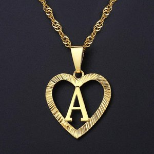 Women's Girls A-Z Initial Letter Pendant Heart Necklace Gold Alphabet Charm Wholesale Jewelry Valentines Gifts for Women