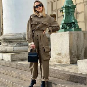 GlMcacy Tulumlar Bayan Kahverengi Tulum Workwear Tulum Kadın Cebi Yeni Stil Yaka Banliyö Bel Gevşek Geniş Bacak Pantolon