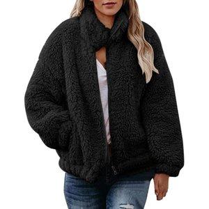 Frauen warm Teddybär Fleece Elegante Mäntel Kragen Tasche Langarm Slim Shawl Jacke Reißverschluss Oversize Outwear