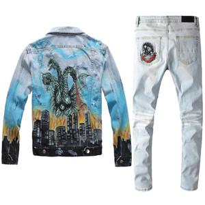 Fashion Brand Blue Jeans da uomo Set di autunno inverno drago stampa graffiti sottile giacca denim + buco patch jeans stretch jeans mens due pezzi set