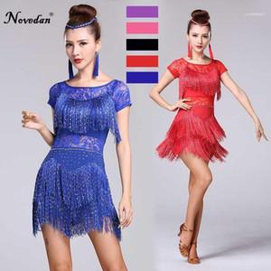 Red Latin Dance Costumes Women Salsa Dancewear Dance Costume Dresses Ballroom Competition Dresses Tango Adult Fringe Sequin11