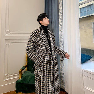 Mixcubic 2020 Autumn England Style Long Section Houndstooth Plaid Trench Casual Loose Grid Windbreaker Coats for Men M-xl