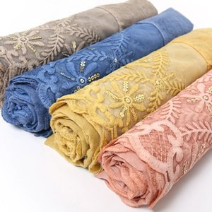 2021 spring, summer and autumn embroidery lace trim stitching cotton and linen scarf pure color tie-dye scarf
