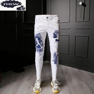 High Street Men White Jeans Personality Fashion Printed Slim Fit Straight Elastic Denim Pants Male Large Sizes jean Trousers