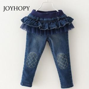 Joyhopy 2017 Девушки Джинсы Мода Fluncing Джинсовые Хлопковые брюки для Девушки Брюки Детская Одежда Y200409