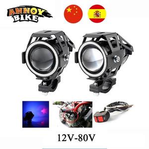 2PCS 12V-80V Angel Eye Motorcycle Light Electric Headlamp LED Refit A Large Lamp Super Bright Fog Lamps U7 Laser LED HeadLights 201204