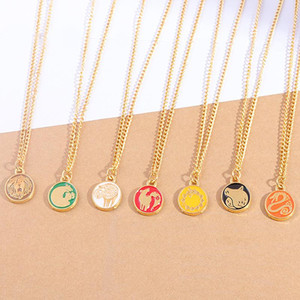 Seven Deadly Sins Protagonist Tattoo Necklace Anime Peripheral Dragon Snake Pig Sheep Lion Grizzly Bear Animal Color Coin