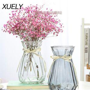 European multi-style geometric creative glass vase transparent hydroponic plants Artificial flower home Wedding arrangement Z1120