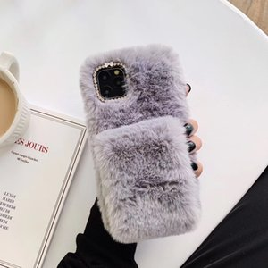 Pure Color Soft Fluffy Plush Phone Case for Samsung S20 Ultra S8 S10 Lite S9 Note 8 9 10 Plus 20 Warm Wristband Cover