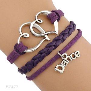 Dance Dancer Music Note Treble Clef Wave Ballet Heart Infinity Love Charm Bracelets Purple Pink Women Men Jewelry Gift Custom