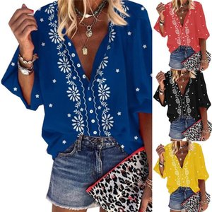 2021 New Design Plus Size Women Blouse V-neck Long Sleeve Print Loose Casual Shirts Womens Tops And Blouses