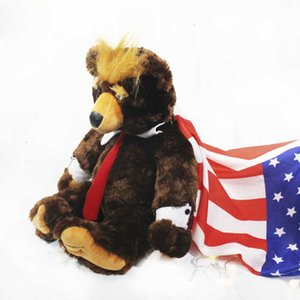 animal 50 60cm Donald toy Trump bear stuffed cool USA president bear with flag cute election flag Teddy bear doll plush toy kids gift