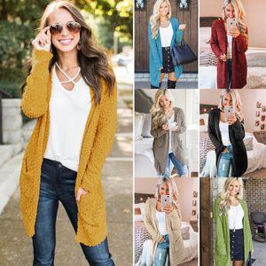 Moda Primavera Cardigan Color Sólido Bolsillo Suéter Mujeres Punto Punto Flojo Casual Streetwear Abrigo Amarillo Khaki Negro Verde Rojo Gris VD3046