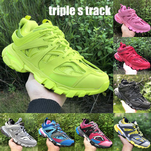 New Best Paris triple s track platform mens casual shoes trainer lime black white glow in the dark height increase men women sneakers