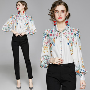 Temperament Shirt Puff Sleeve Printed Women Shirt High-end OL 2021 Spring Autumn Shirt Fashion Retro Lady Blouse