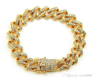 Fashion Hip Hop Men Women Gold Silver Stainless Steel Crystal Rhinestone Bangle Bracelet Deluxe Jewelry Gift