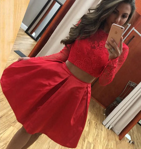 Two Pieces Lace Homecoming Dresses With Long Sleeves Zipper Back Formal Party Gowns Short Prom Gowns Cocktail Graduation Dress