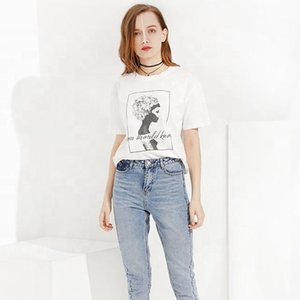 Güzel 2020 Bayan 100% Pamuk Artı Boyutu Nedensel Pamuk Tişörtleri Özel Logo Baskı Boş Beyaz 2020 Kadın T Gömlek