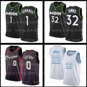 Anthony 1 Edwards Jersey Karl-Anthony 32 Kasaba 2020 2021 Yeni MinnesotaTimberwolvesDamian 0 Lillard Erkek Siyah Basketbol Formaları