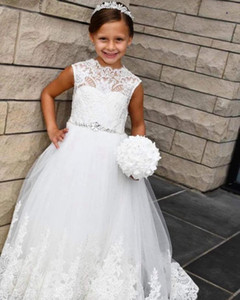 Crystals Lace 2020 Flower Girl Dresses A-line Sheer Neck Little Girl Wedding Dresses Cheap Communion Pageant Dresses Gowns ZJ7039