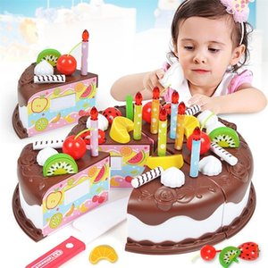 37pcs Sets Funny Toys Birthday Cake DIY Model Children Kids Early Educational Pretend Play Kitchen Food Plastic Toys Y200428