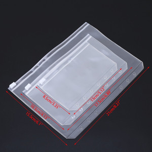 A5 / A6 / A7 PVC Binder Прозрачная молния Сумка для хранения 6 отверстий Водонепроницаемые канцелярские пакеты Office Travel Портативный документ SACK FFE2683
