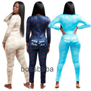 Women Jumpsuits Rompers Designer Pajama Onesies Letter Pattern Nightwear Bodysuit Workout Button Skinny V-neck Long Pants Dhl