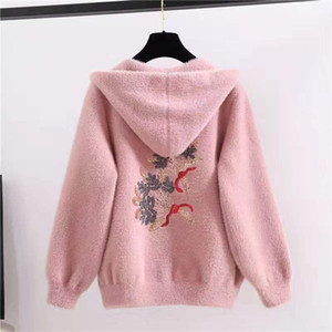Women 2021 Winter New Imitation Mink Velvet Coats Female Sweater Cardigan Jackets Ladies Floral Embroidery Hooded Outwears Q