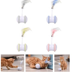 Feather Electric Balance Car Funny Electronic Pet Toy Smart Automatic Cat Teaser Playing USB Charging Q1127