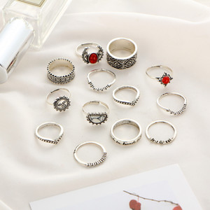 Set Engraved 14pcs Set Fashion Joint Jewelry Ring Bohemian Vintage Punk Antique silver-Color Sun Face Finger Rings For Women Wholesale