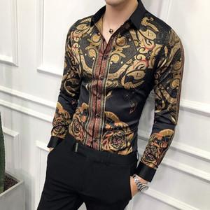 Осенние мужские Золотые рубашки Социальный клуб Рубашка Барочные Рубашки Camisa Slim Fit Черная Золотая Мужская Рубашка