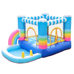 Commercial Indoor Outdoor Inflatable Bounce House With Ball Pit Air Rainbow Colorful Bounce House For Kids Party Mainan Anak Balon Funzone