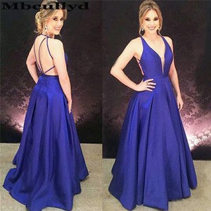 Mbcullyd Royal Blue Prom Dresses Long 2020 Sexy Cross Backless Evening Party Gowns For Women Cheap Vestidos de fiesta de noche