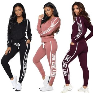 Fashion Letters Hooded Suit Womens Tracksuit Hoodie Zip Jacket Zipper Coat and Pants Leggings Two Piece Outfits Clothing Set D102602