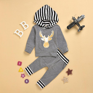 Baby Boys Girls 0-2years Reindeer print long sleeve coat + long pants 2pcs outfits Grey colour children clothes set Y1113