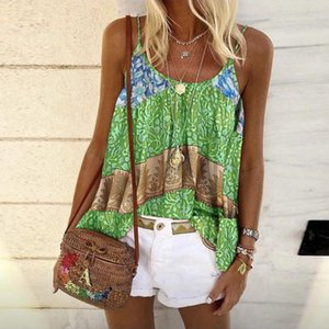 2020 summer European and American foreign trade women's clothing hot sale loose bohemian ethnic style printed camisole vest top