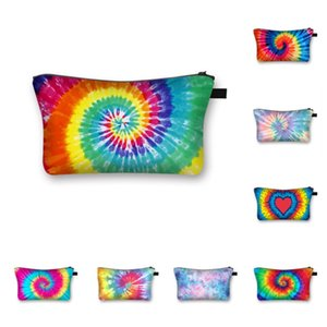 Women Fashion Tie-dye Makeup Cosmetic Bag Zipper Handbag Wallets Totes Pouch Travel Storage Bags Make Up Brush Wash Toiletry Bag DHL E120405