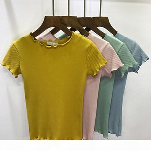 2018 Spring Summer Tees Women Ruffled Shirt Trimmings Ribbed Crop Tops Harajuku Short Sleeve Short T-shirt Female Crop Tops