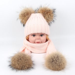 Winter Baby Beanies Boys Girls Hats Real Raccoon Knitting Hat Scarves Set Fur Pom Pom Ball Caps Children Hats Kids Warm Beanie Suits