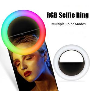 Universal Selfie Anel Luz RGB Lâmpada Colorida Lente de Telefone Móvel Portátil Flash Flash Cor LED Encher Light para Celular Live Clip no telefone