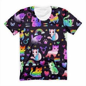 Kawaii Gradient Cat T Shirt Cool Punk Tees Women Mens Summer Streetwear Harajuku Galaxy Short Sleeve T shirts Funny Animal Tops